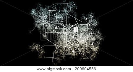 Intricate Fictional City Map with Roads and Buildings Top View