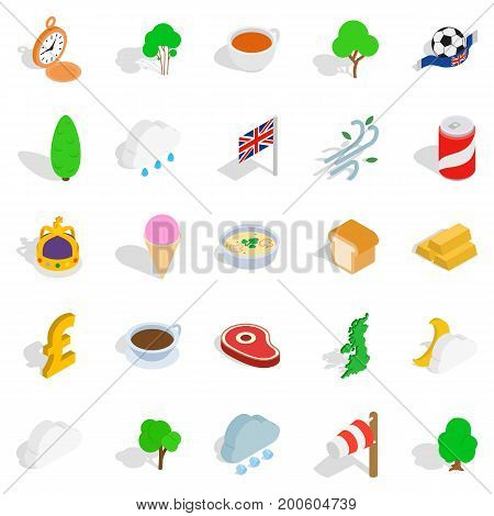 Colonies icons set. Isometric set of 25 colonies vector icons for web isolated on white background