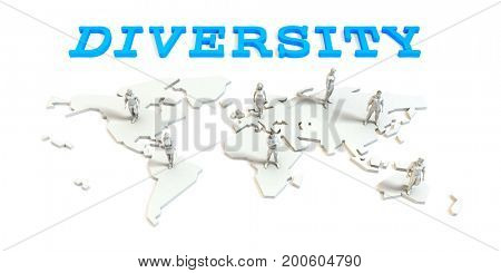 Diversity Global Business Abstract with People Standing on Map 3D Illustration Render