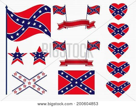 Flag Of The Confederates, A Set Of Icons, Stars And Hearts With A Flag. Vector Illustration