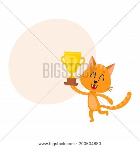 Cute little red cat character, champion holding golden winner cup, cartoon vector illustration with space for text. Baby cat, kitten animal champion holding cup for taking first place