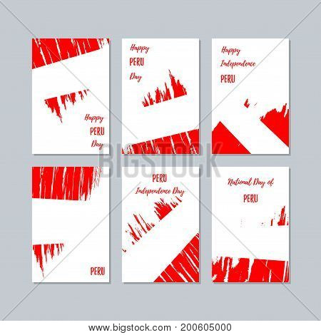 Peru Patriotic Cards For National Day. Expressive Brush Stroke In National Flag Colors On White Card