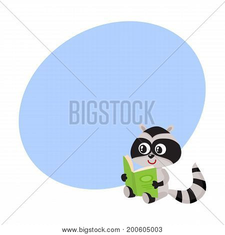 Cute little raccoon student character reading an interesting book, cartoon vector illustration with space for text. Little raccoon student reading big book, back to school concept