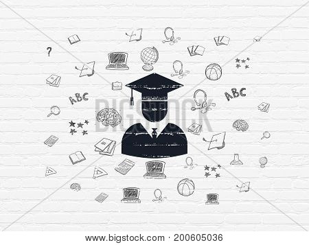 Education concept: Painted black Student icon on White Brick wall background with  Hand Drawn Education Icons