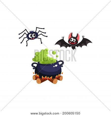 Caldron, bat and spider, traditional Halloween symbols, elements, cartoon vector illustration isolated on white background. Cartoon style Halloween caldron with green potion, flying bat and spider