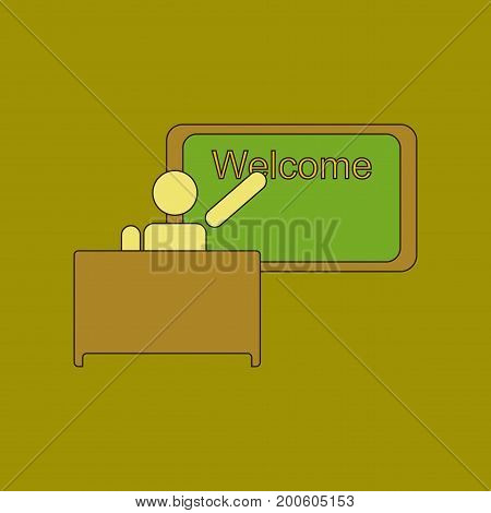 flat icon with thin lines table board teacher