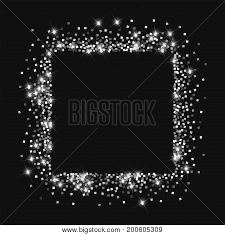 Sparkling Silver. Square Abstract Mess With Sparkling Silver On Black Background. Vector Illustratio