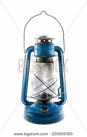 A kerosene lamp on a white background with unlit wick