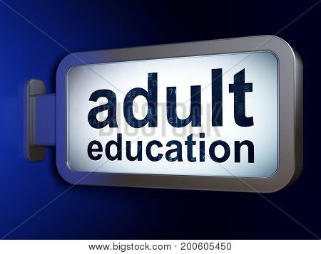 Studying concept: Adult Education on advertising billboard background, 3D rendering