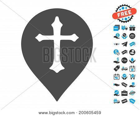 Christian Cross Marker grey icon with free bonus clip art. Vector illustration style is flat iconic symbols.