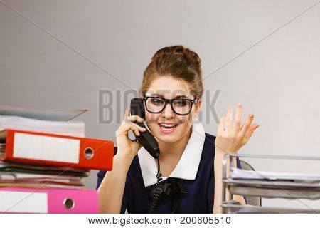 Happy Secretary Business Woman In Office