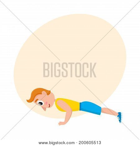 Young man doing push ups. sport exercises, training in gym, cartoon vector illustration with space for text. Cartoon man, guy doing fitness exercises, push ups in gym