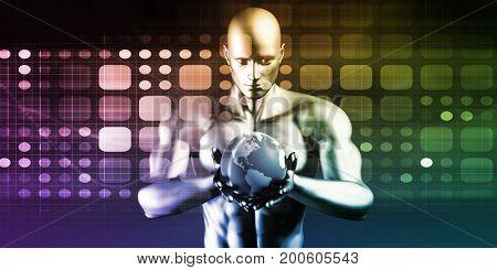 Business Intelligence Database Analysis Technology Solution Concept 3D Illustration Render