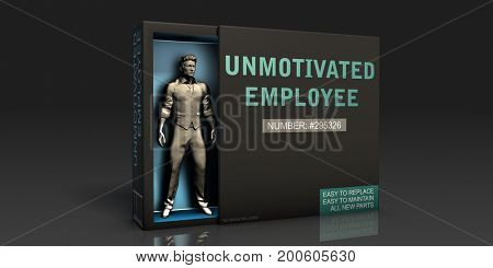 Unmotivated Employee Employment Problem and Workplace Issues 3D Illustration Render