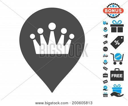 Crown Marker grey icon with free bonus pictures. Vector illustration style is flat iconic symbols.