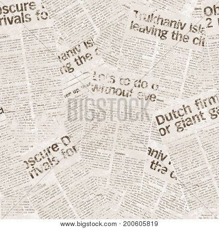 Vintage seamless newspaper pattern. Aged newspaper background
