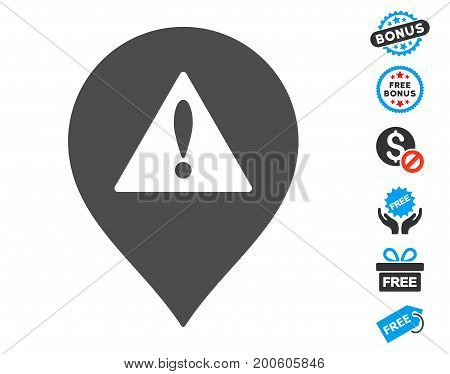 Danger Map Marker grey pictograph with free bonus graphic icons. Vector illustration style is flat iconic symbols.
