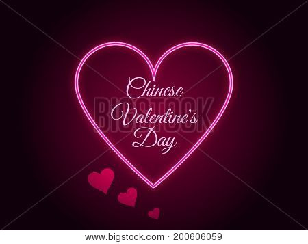 Chinese Valentine's Day. Neon Heart. Qixi Festival. Vector Illustration