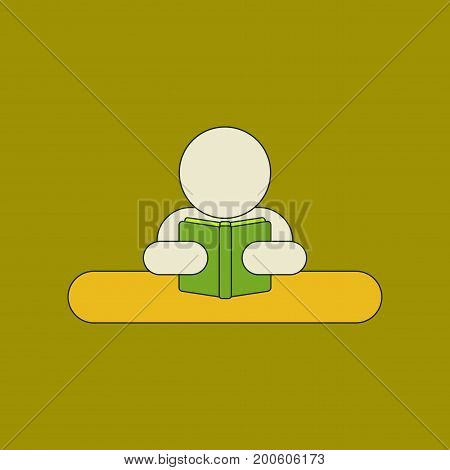 flat icon with thin lines man reading book