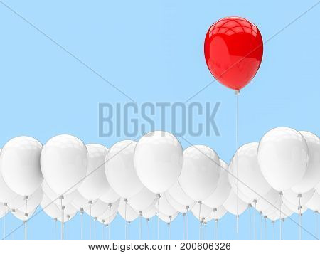 leadership concept with 3d rendering red balloon among white balloons