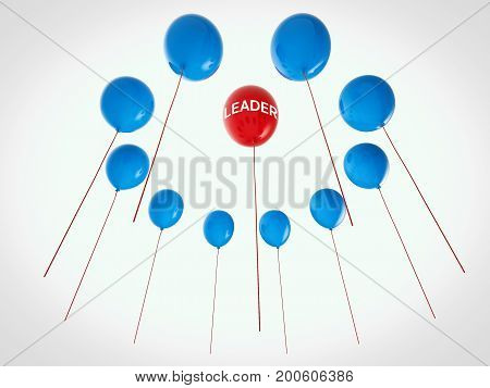 leadership concept with 3d rendering red balloon among blue balloons