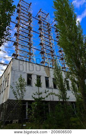 Large field of the looted antenna of the military object of the PRO of the USSR. Dead military unit. Consequences of the Chernobyl disaster August 2017.