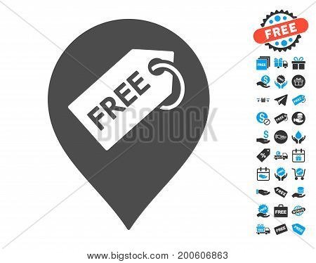 Free Tag Marker grey icon with free bonus design elements. Vector illustration style is flat iconic symbols.