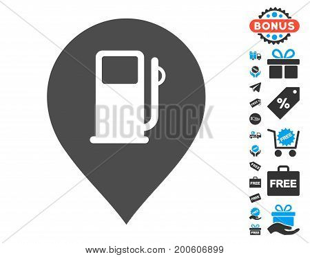 Fuel Station Marker grey icon with free bonus pictures. Vector illustration style is flat iconic symbols.