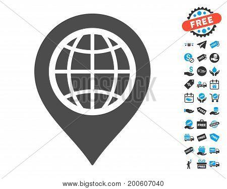 Globe Map Marker grey icon with free bonus clip art. Vector illustration style is flat iconic symbols.
