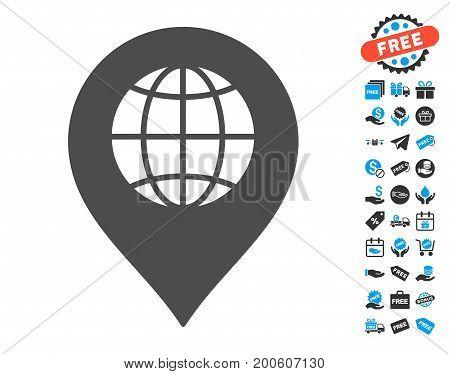 Globe Marker grey icon with free bonus clip art. Vector illustration style is flat iconic symbols.