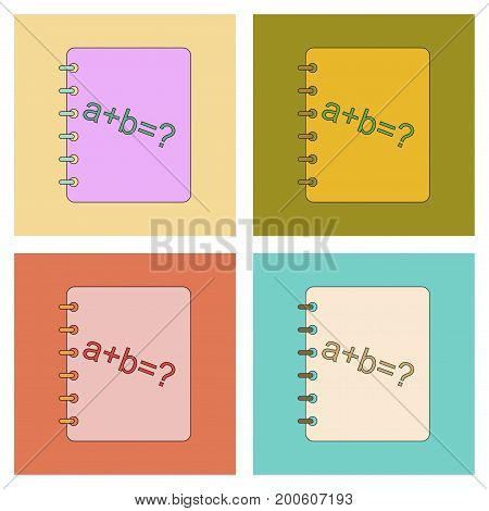 assembly of flat icons education math book