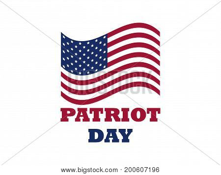 Patriot Day Us Flag On White Background. Memorial Day 9/11. Vector Illustration