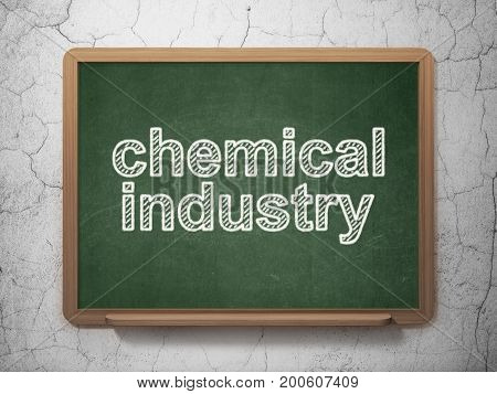 Industry concept: text Chemical Industry on Green chalkboard on grunge wall background, 3D rendering