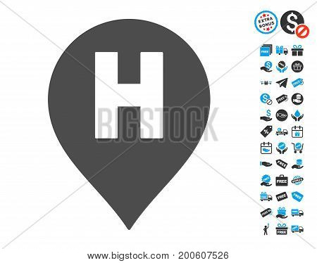 Hospital Letter Marker grey pictograph with free bonus pictograms. Vector illustration style is flat iconic symbols.