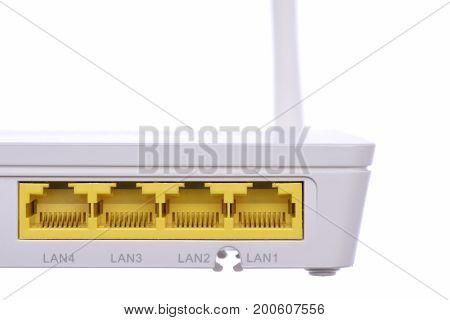 Closeup of Wireless Router Isolated On White Background
