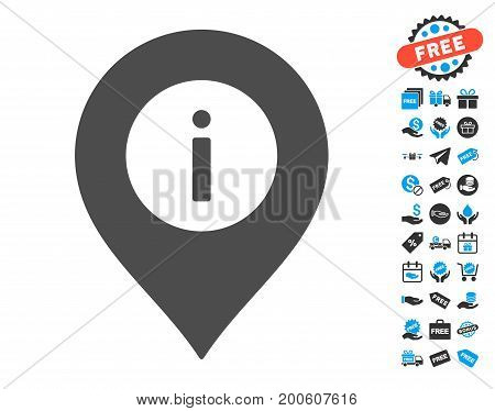 Info Center Marker grey icon with free bonus design elements. Vector illustration style is flat iconic symbols.