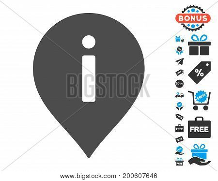 Information Marker gray icon with free bonus symbols. Vector illustration style is flat iconic symbols.