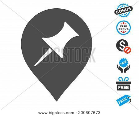 Interest Pin Marker grey pictograph with free bonus images. Vector illustration style is flat iconic symbols.