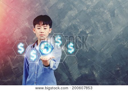 business technology internet and finance concept - young man show dollar currency or exchange worldwide on virtual screens