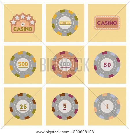 assembly of flat icons Casino poker chips