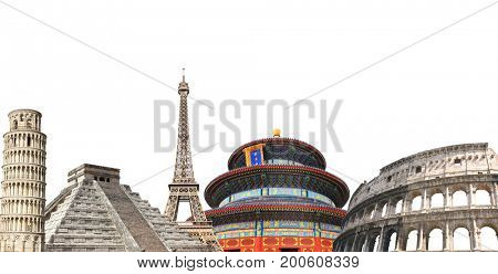 Famous monuments of the Europe, Asia and America - Eiffel tower in Paris, Leaning Tower and Coliseum; Temple of Heaven in Beijing, Mayan pyramid (Kukulcan Temple), Mexico. Isolated on white background