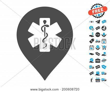 Medicine Marker gray pictograph with free bonus icon set. Vector illustration style is flat iconic symbols.