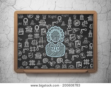 Law concept: Chalk Blue Judge icon on School board background with  Hand Drawn Law Icons, 3D Rendering