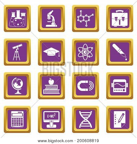Education icons set in purple color isolated vector illustration for web and any design