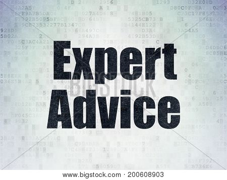 Law concept: Painted black word Expert Advice on Digital Data Paper background