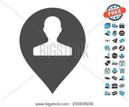 Monument Marker gray icon with free bonus images. Vector illustration style is flat iconic symbols.