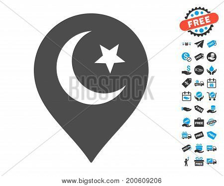 Muslim Symbol Marker gray icon with free bonus graphic icons. Vector illustration style is flat iconic symbols.
