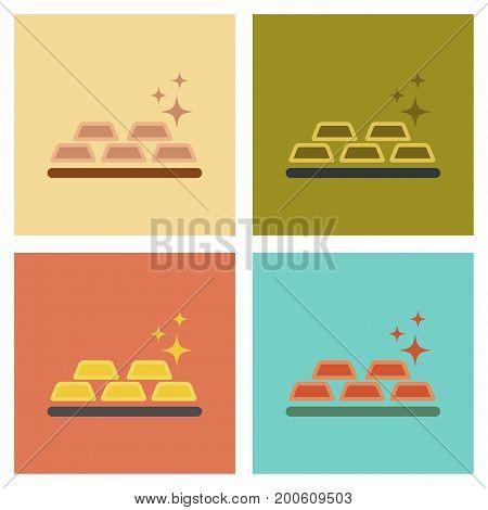 assembly of flat icons poker gold bullion