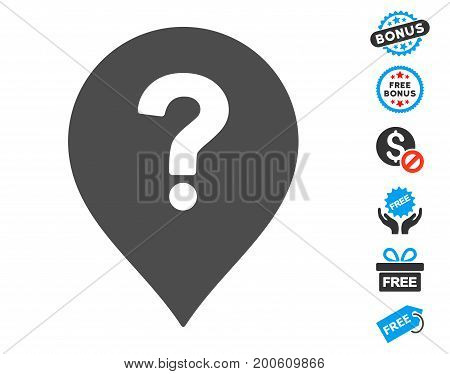 Question Marker grey pictograph with free bonus clip art. Vector illustration style is flat iconic symbols.