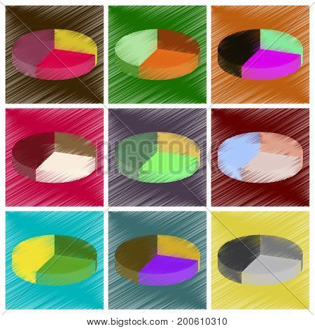 assembly flat shading style icons Pie chart